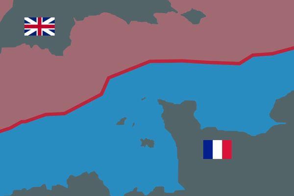 1500 licences sont délivrées aux pêcheurs français pour leur permettre d'aller pêcher dans la Zone économique exclusive du Royaume Uni (en rouge). En contrepartie, les Britanniques pourront continuer à venir pêcher la coquille Saint-Jacques en Baie de Seine.