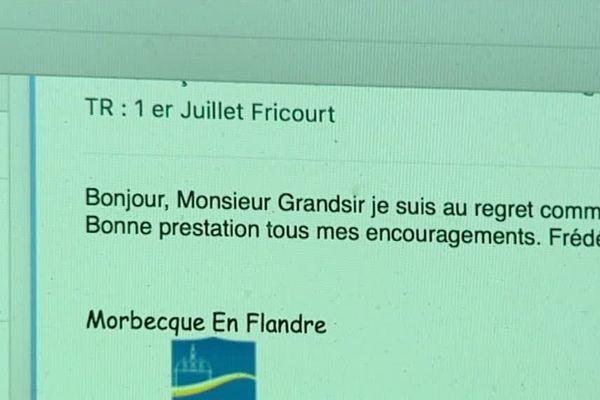 Capture de l'e-mail informant François Grandsir de l'annulation de la chanson de Craonne lors de la cérémonie au cimetière allemand de Fricourt, le 1er juillet 1916.