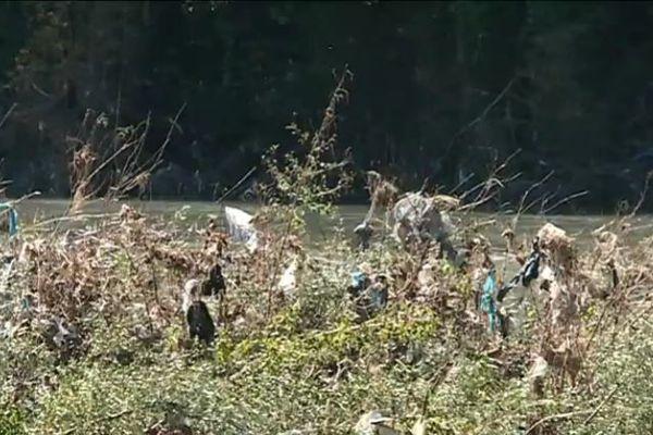 Des déchets étalés sur des dizaines de kilomètres le long du Gave de Pau après les inondations. Ils proviennent de la décharge de Bordes, en amont.