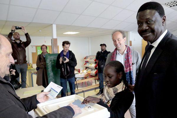 Pape Diouf, le jour du vote du premier tour des élections municipales en 2014
