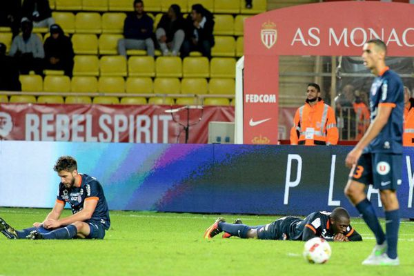 Les footballeurs montpelliérains, terrassés 6 buts à 2 par Monaco. 21/10/2016