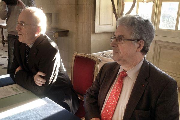 Christian de Lavernée, le Préfet de Loire Atlantique, avec Patrick Gandil directeur général de l'aviation civile.