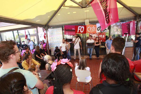 Rassemblement des salariés en lutte au McDonald's de Saint Barthélémy à Marseille le 24 juillet dernier.