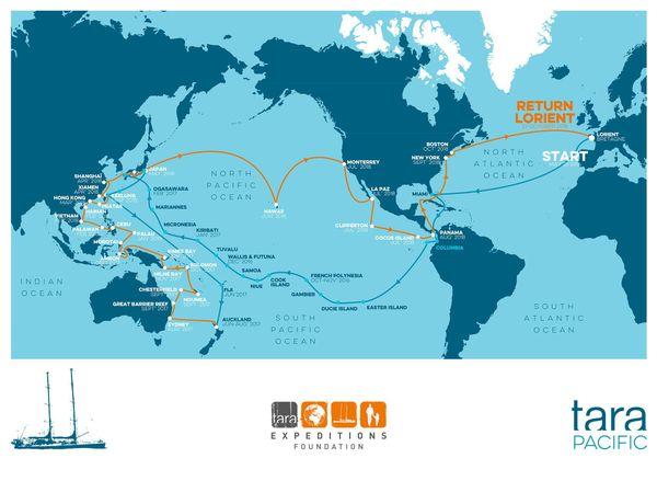 Carte du parcours de Tara pour cette 11ème édition dans le Pacifique