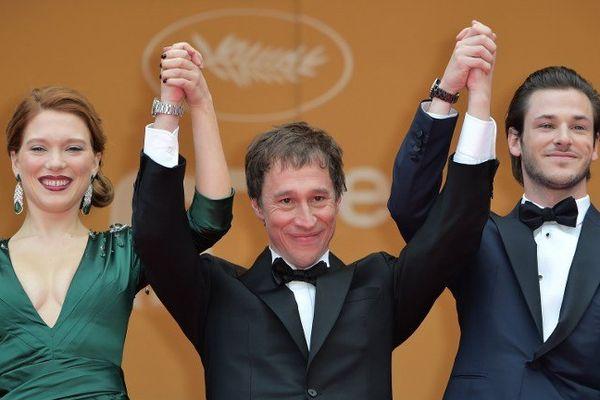 Léa Seydoux, Bertrand Bonello et Gaspard Ulliel au Festival de Cannes 2014.