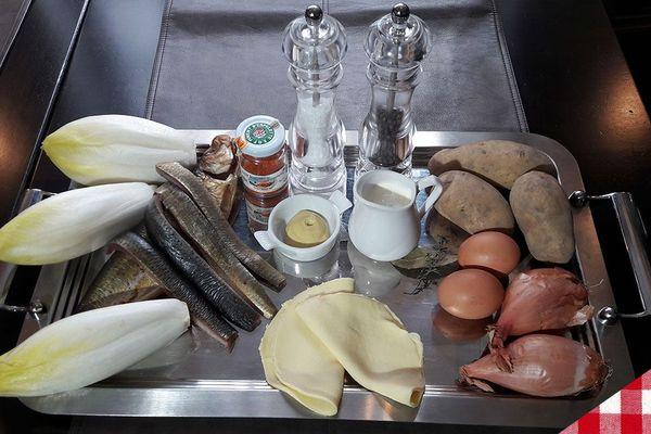Les ingrédients de la tarte de hareng fumé et chicons de pleine terre