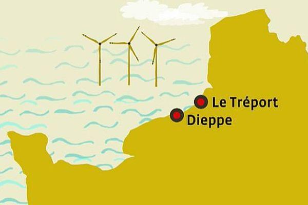 Un dessin figuratif, car il y aurait 62 éoliennes, 15 km au large du Tréport.