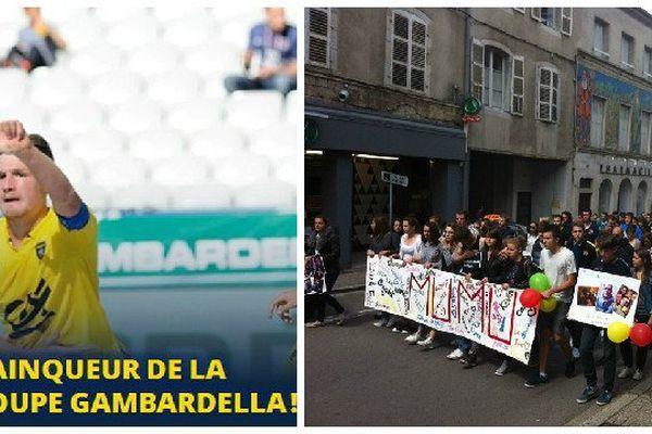 A gauche, la Gambardella 2015 (image FCSM). A droite, la marche blanche à Arbois en hommage à Jordan.
