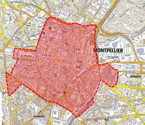 C'est dans ce secteur, délimité en rouge, que le masque sera obligatoire à compter du 11 août.