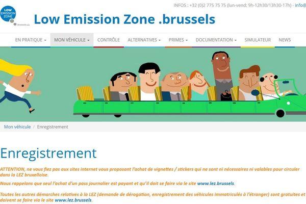 Le site de la LEZ à Bruxelles
