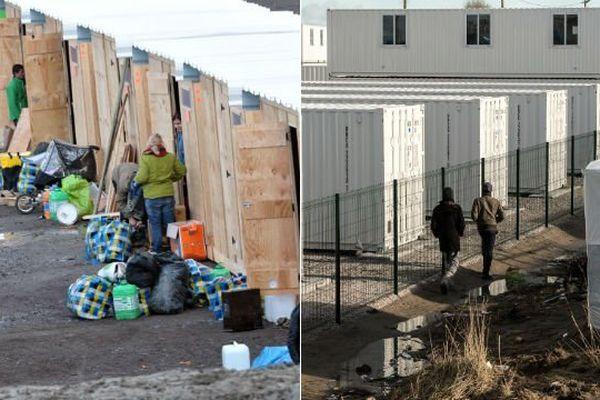 A gauche, le nouveau camp de Grande-Synthe, à droite les containers du Centre d'Accueil Provisoire (CAP) de Calais.
