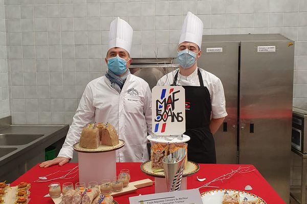 Axel Chamblet et son patron Bruno Goulay lors des épreuves régionales du concours de Meilleur Apprenti de France.