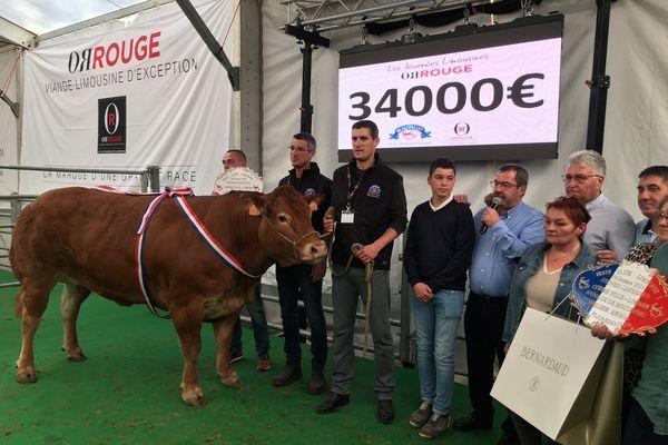 34 000 euros c'est le record que cette vache a battu.