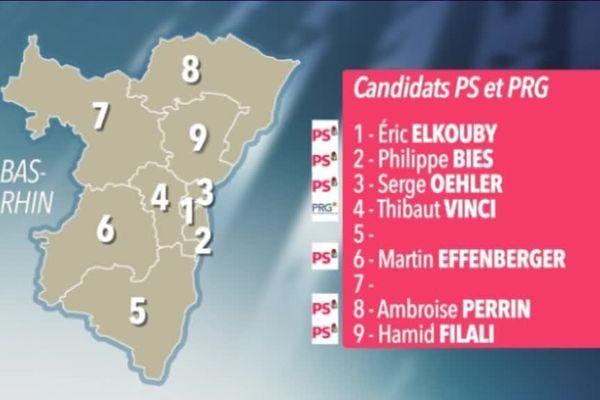 Les candidats PS et PRG dans le Bas-Rhin