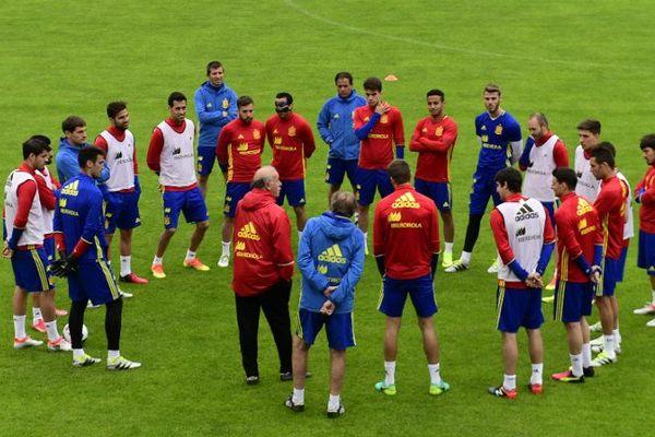 L'équipe nationale espagnole de Football à l'entraînement.