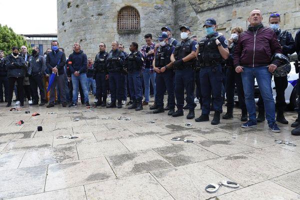Les policiers ont manifesté à Bordeaux le 12 juin dernier suite aux annonces du ministre de l'Intérieur.