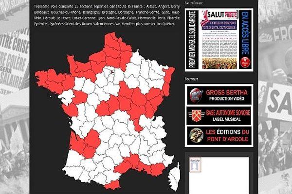 Carte revendiquée par le mouvement d'extrême droite Troisième voie, à l'époque où le groupuscule n'était pas encore dissous, sur l'implantation de leurs membres en France.