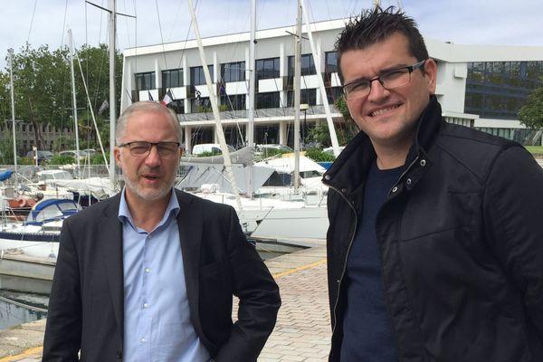 Gaël Le Fur, à droite sur la photo au côté du maire Fabrice Loher, a été mis en examen pour viols sur mineurs.