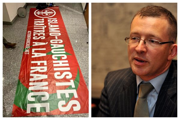 """Emmanuel Crenne, conseiller régional du Lot, est mis en cause dans la tentative d'intrusion de membres de l'Action française dans l'hémicycle de la région Occitanie afin de déployer cette banderole contre les """"Islamo-gauchistes""""."""
