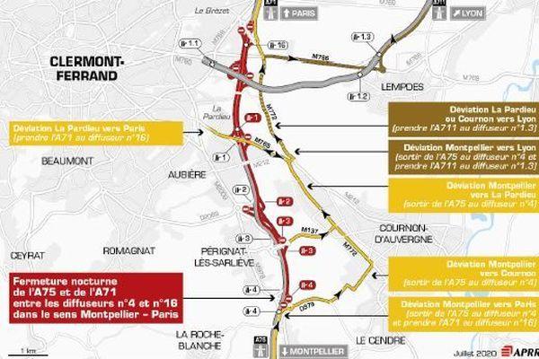 Une déviation est mise en place dans le sens Montpellier vers Paris.