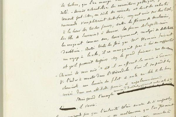 Page du manuscrit définitif de Madame Bovary, écrit de la main de Gustave Flaubert.