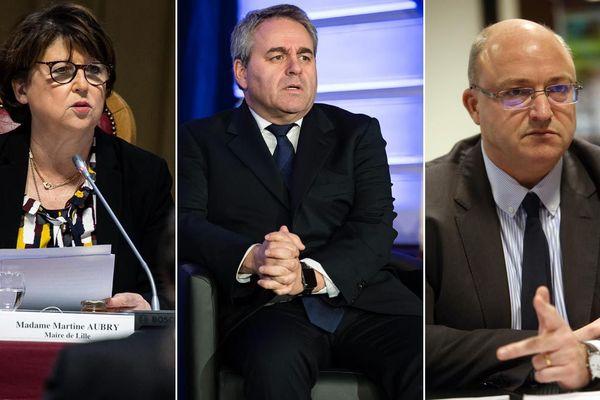 La maire de Lille Martine Aubry, le président des Hauts-de-France Xavier Bertrand et le président de la MEL Damien Castelain