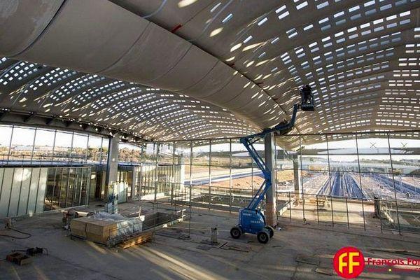 Montpellier - les travaux dans la gare TGV Sud de France - mars 2017.