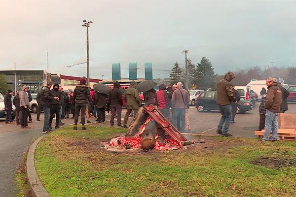 Piquet de grève au siège du réseau de transports Stan Keolis à Nancy.