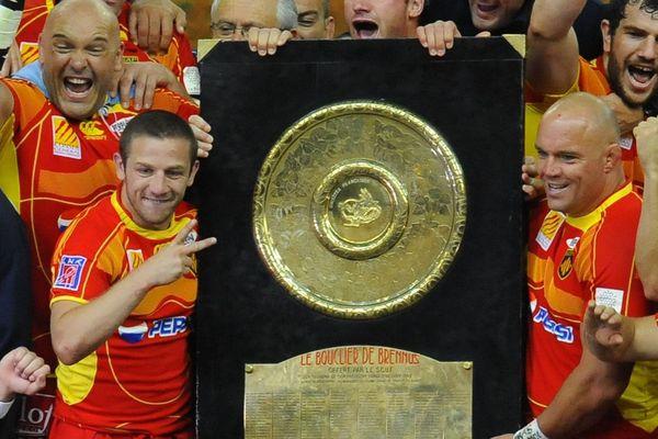 La joie des joueurs de l'USAP, le 6 juin 2009 au Stade de France