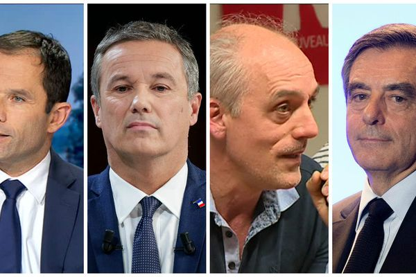 B. Hamon, N. Dupont-Aignan, P. Poutou et F. Fillon