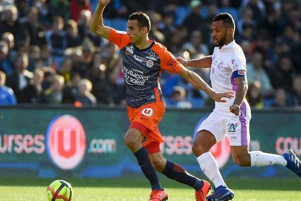 Ellyes Skhiri, défenseur de Montpellier lors du match contre Reims, en 26 ème journée du championnat de Ligue 1. Lourde défaite 4 à 1 à la Mosson dimanche 24 fevrier 2019.