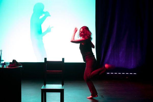 Pierre Notte chante en ombre chinoise dans L'histoire d'une femme.