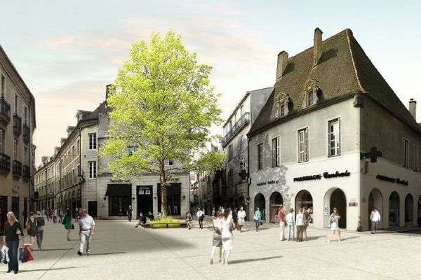 La place Jean Macé telle qu'elle devrait être après la piétonisation des rues Charrue et Piron, à Dijon.