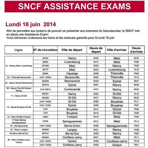 SNCF Assistance Exams garantit la circulation des lignesTER aux horaires suivants lundi 16 juin 2014 au matin.