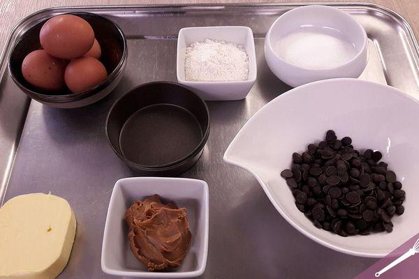 Les ingrédients des moelleux au chocolat et spéculoos
