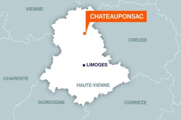 Carte de Châteauponsac dans le nord de la Haute-Vienne