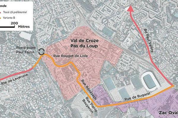 Carte de la variante B du tracé de la ligne 5 de tram à Montpellier.