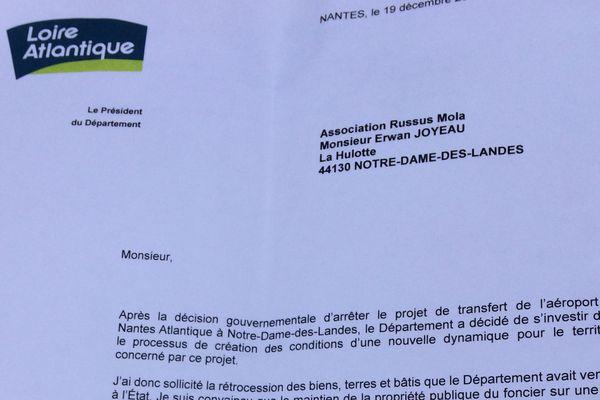 Daté du 19 décembre, le courrier du département laisse entendre que les conventions d'occupation précaire seront pérennisées.