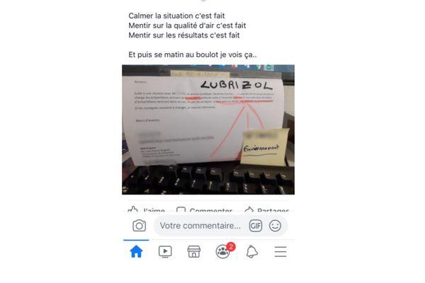 Capture d'écran du post Facebook largement diffusé mardi 15 octobre 2019.