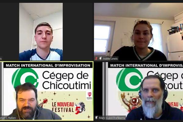 Pendant le match d'improvisation théâtral virtuel avec des lycéens, l'arbitre (Christian) et l'un des deux animateurs (Marc).