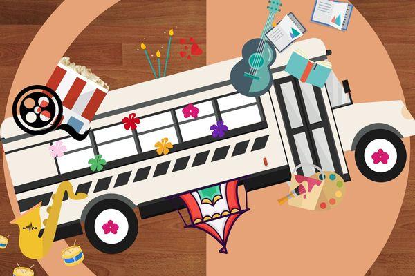 Illustration représentant un bus entouré d'instruments d'arts et de musique.