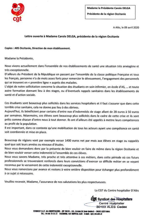 Le courrier de la CGT de l'hôpital d'Alès à Carole Delga
