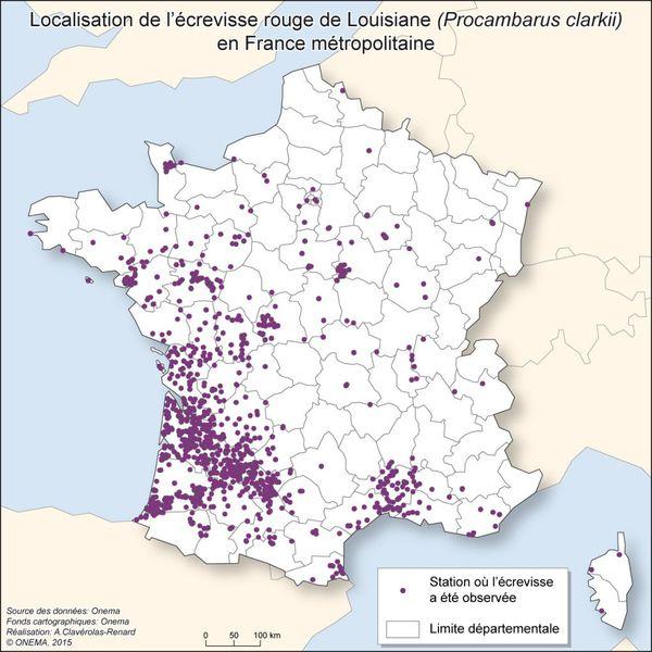 Carte de localisation de l'écrevisse rouge de Louisiane
