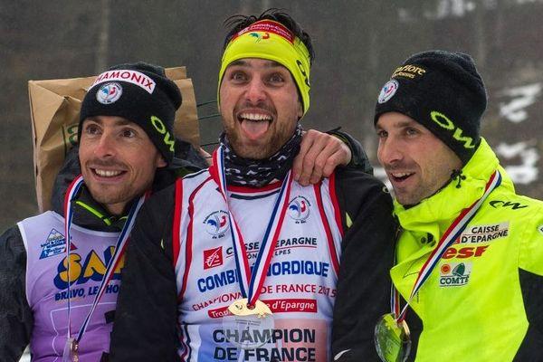 François Braud, Jason Lamy-Chappuis et Maxime Laheurte en 2015 à Chaux-Neuve (Doubs)