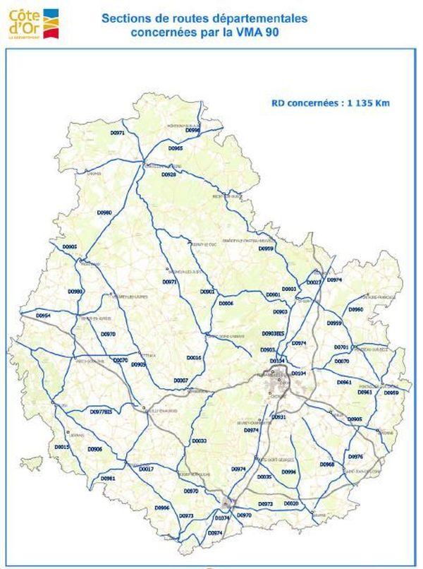 La carte des routes qui vont repasser à 90 km/h en Côte d'Or