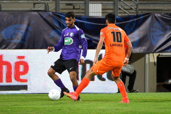 Perpignan - Toufik Ouadoudi, milieu de terrain de Canet-en-Roussillon, a marqué le premier but du match contre Montpellier à la 25e minute - 20 avril 2021.