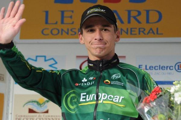 Le Français Bryan Coquard après sa belle victoire lors de la 3ème étape de l'Etoile de Bessèges - 6 février 2015