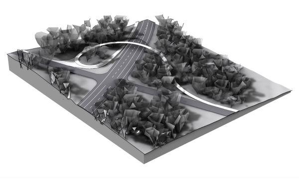 Future passerelle sur la voie express pour vélos, réalisation en 2021