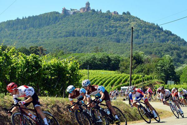 L'étape 5 de l'édition 2019 du Tour de France avait pour arrivée Colmar, avec un passage des cyclistes devant le château du Haut-Koenigsbourg.