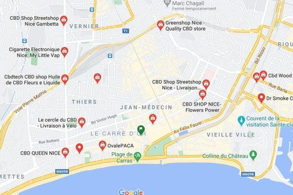 Des dizaines de magasins vendent du CBD dans le centre de Nice.